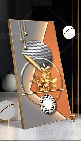 现代抽象橙色立体几何光影麋鹿客厅玄关装饰画4