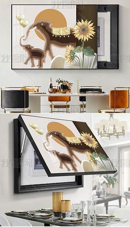 小清新轻奢立体画剪纸动物花卉客厅电表装饰画