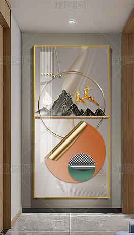 北欧简约轻奢侈艺术抽象几何橙蓝轻奢玄关装饰画