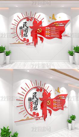 民族团结教育五个认同基本理念党建文化墙设计
