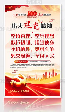 中国共产党伟大建党精神宣传标语展板挂画海报