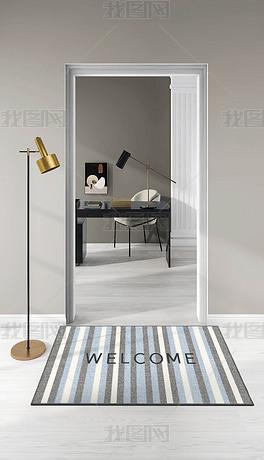 轻奢北欧入户家用玄关门口几何纹理脚垫地毯地垫