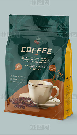 高端咖啡冲调饮料铝箔袋包装袋样机
