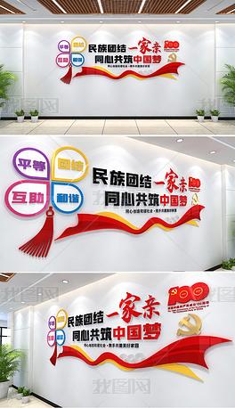 民族团结文化墙民族团结一家亲同心共筑中国梦