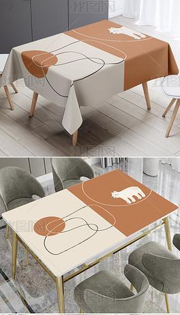 原创北欧INS风现代简约可爱熊米棕色桌布桌垫
