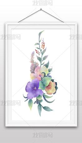 手绘水彩花卉矢量图