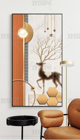 现代几何动物立体走廊过道玄关金属拉丝装饰画6