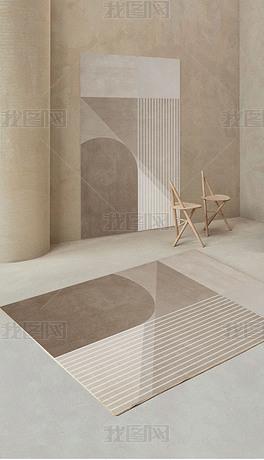 北欧客厅地毯卧室轻奢家用侘寂风床边毯茶几地垫