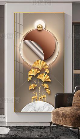 现代创意轻奢光影立体抽象几何玄关背景装饰画