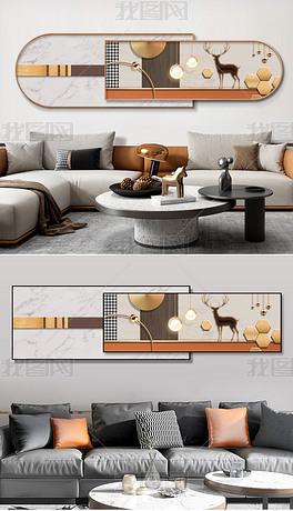 现代几何立体剪纸动物客厅卧室双层装饰画5