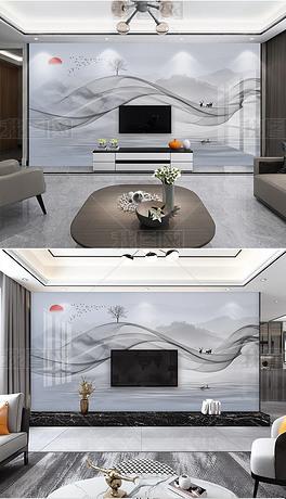 现代简约抽象大理石水墨山水新中式轻奢背景墙