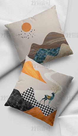 现代简约轻奢山水飞鸟橙色麋鹿家居抱枕图案