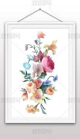 手绘水彩风格花卉插画矢量图装饰画