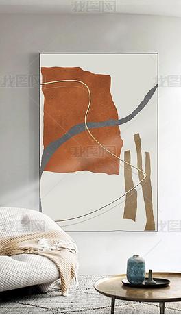现代抽象几何金属拉丝客厅玄关装饰画