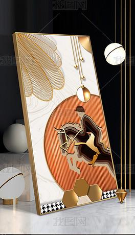 现代抽象几何动物立体金属拉丝客厅装饰画2
