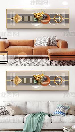 4现代简约轻奢抽象几何光影立体金箔客厅装饰画