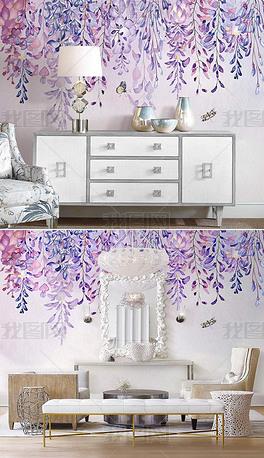 北欧ins手绘紫藤花浪漫花朵繁花室内背景墙