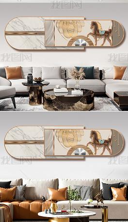 现代创意轻奢立体抽象几何骏马重叠组合装饰画