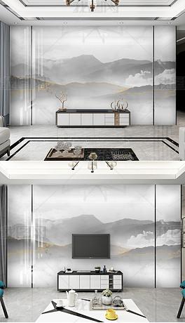 新中式现代简约大理石水墨山水电视背景墙装饰画
