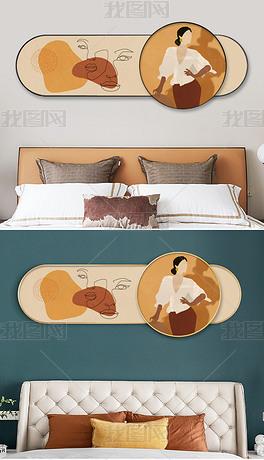 现代叠加横幅莫兰迪文艺风人物客厅卧室装饰画3