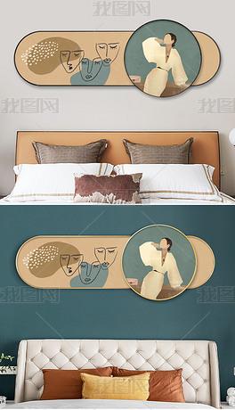现代叠加横幅莫兰迪文艺风人物客厅卧室装饰画4