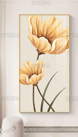 现代简约小清新手绘花卉创意玄关装饰画