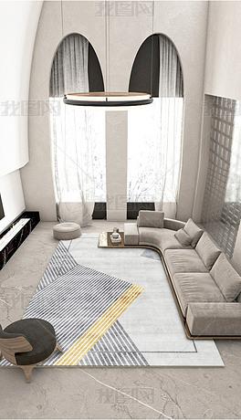 现代简约北欧轻奢几何线条创意客厅地毯地垫设计