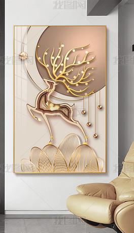 现代轻奢LED光影简约创意立体麋鹿玄关装饰画