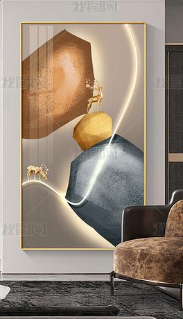 轻奢LED现代简约创意金石玄关装饰画