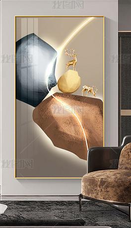 轻奢LED现代简约创意金石玄关装饰画4