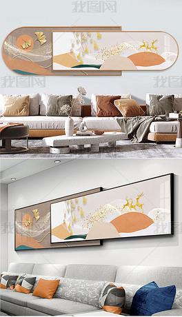 现代简约客厅麋鹿逐月抽象挂画轻奢晶瓷面画
