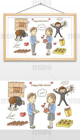手绘爱情情侣卡通人物插画矢量图设计