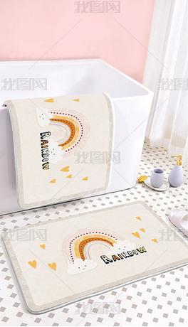 北欧可爱卡通网红彩虹爱心浴室卫生间地垫地毯