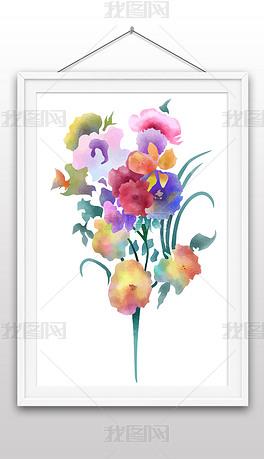 手绘彩色水彩风花卉鲜花插画矢量图装饰画
