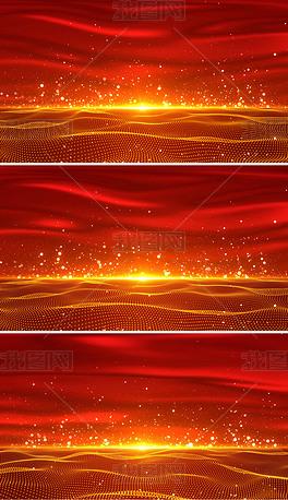 4K大气红绸粒子舞台背景视频