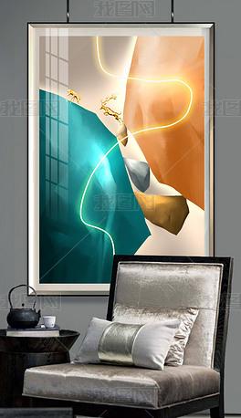 现代创意轻奢LED光带现代简约金石玄关装饰画