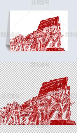 革命人物线描PNG原创素材