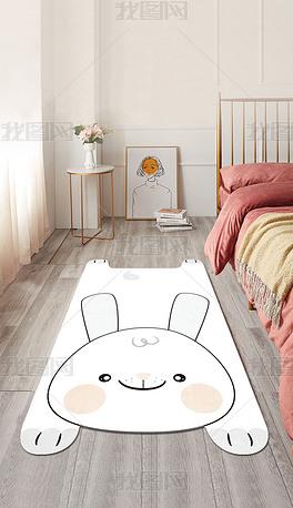 卡通网红手绘异形动物造型床边毯儿童房地毯地垫