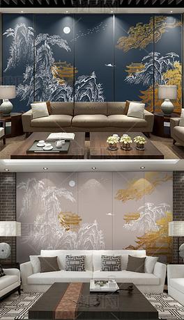 新中式金色浮雕线条山水国潮背景墙装饰画