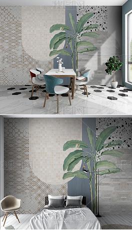 现代简约轻奢高档瓷砖潮流拼接卧室沙发背景墙
