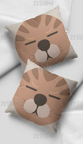 北欧ins风卡通猫咪表情小清新插画抱枕图案