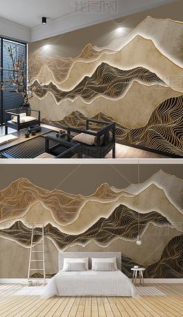新中式艺术复古意境抽象金线水墨山水背景墙壁画