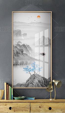 现代简约新中式水墨山水画玄关装饰画