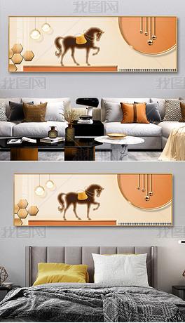 现代立体光影一马当先客厅背景画床头装饰画3
