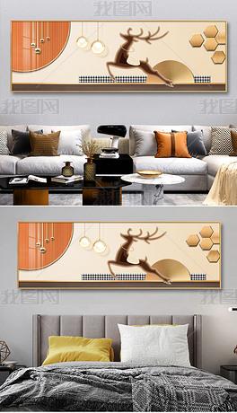 现代立体光影一鹿高升客厅背景画床头装饰画4