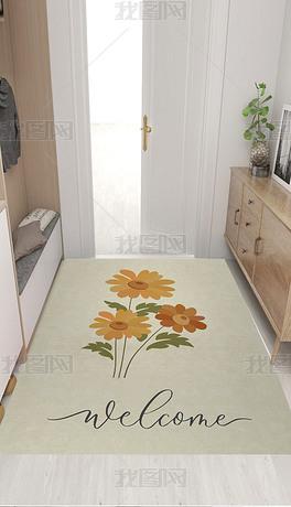 北欧简约手绘插画花朵小清新入户地垫地毯