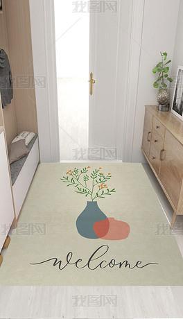 北欧简约抽象手绘插画花瓶小清新入户地垫地毯