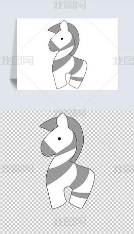 矢量图卡通手绘动物园可爱装饰儿童早教海报斑马