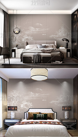 新中式现代简约水墨山水线条山水卧室沙发背景墙