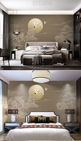 新中简约线条山水楼阁山水卧室国潮背景墙装饰画